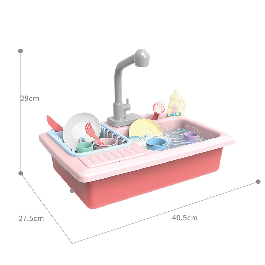 Color Changing Kitchen Sink Toys Children Heat Sensitive Thermochromic Dishwash children's Cartoon Kitchen Play House Toys #39