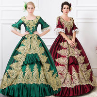 Dark Red Navy Gothic Victorian Evening Dresses Long Royal Court Palace Costume For Ladies