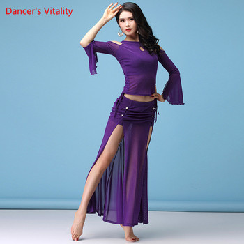 New Belly Dance Clothes Suit Autumn Winter Skirt  Long Split Sleeve Top Girls Sexy Costumes ,M,L,XL,Free Shipping - discount item  12% OFF Stage & Dance Wear