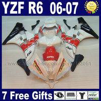 Custom Injection motorcycle fairings For YAMAHA YZF R6 2006 07 YZFR6 plastic 06 2007 white red aftermarket body fairing kits