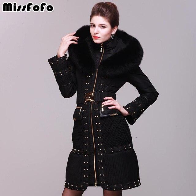 Missfofo женские пуховики royalcat куртки высокого качества 3XL заклепки Тонкий Настоящий Лисий Мех роскошный пуховик Женская парка- 30 пальто, пальто
