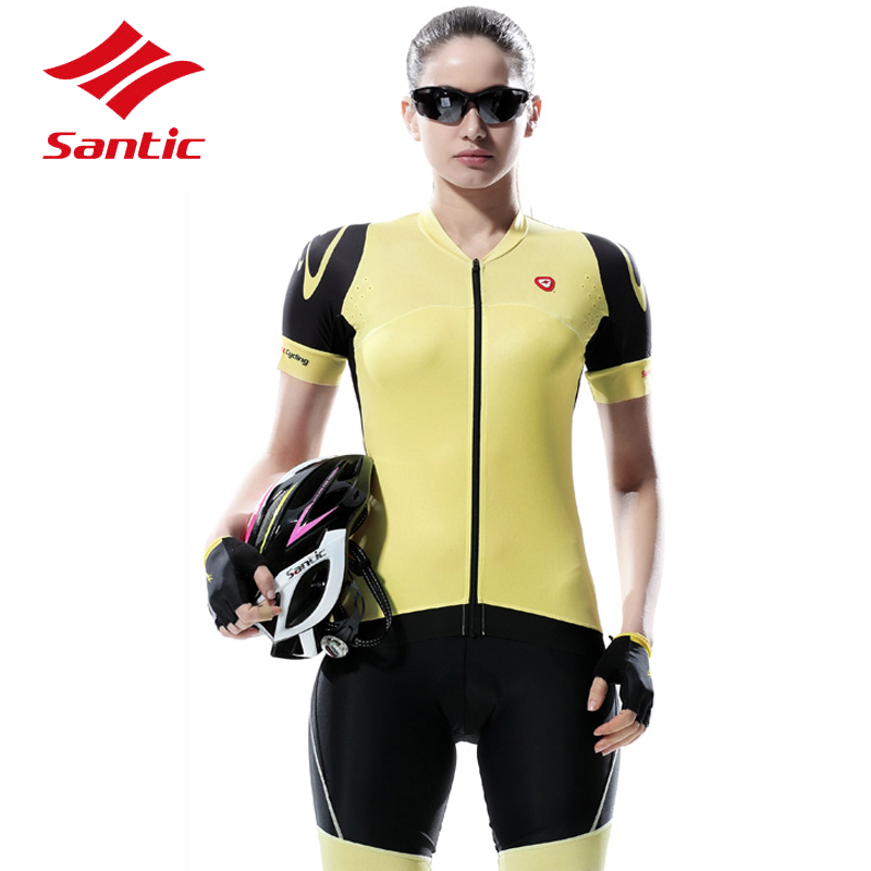 Santic Cycling Clothing Jersey Kit Sets Women With Short Sleeve Pro Bicycle Bike Clothes With Padded Shorts 2017 Ropa Ciclismo cycling jersey womenpurple flowershort sleeve cycling clothing women cycling jersey cycling sets x608