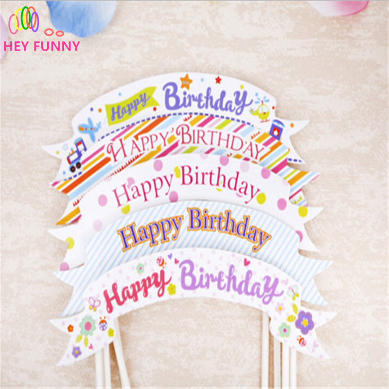 10pcs/lot Happy Birthday Cupcake Topper Bunting Flags Picks Kids Birthday Party Wedding Baby Shower Cake Baking Decoration