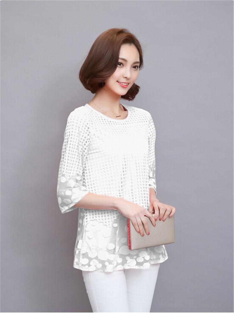 Plus Size 4XL 5XL 6XL  Luxury Lace O Neck  Women Blouse Shirt Noble Long Mesh sleeve Shirt Blouse Vintage tops Blusas Femininas (12)