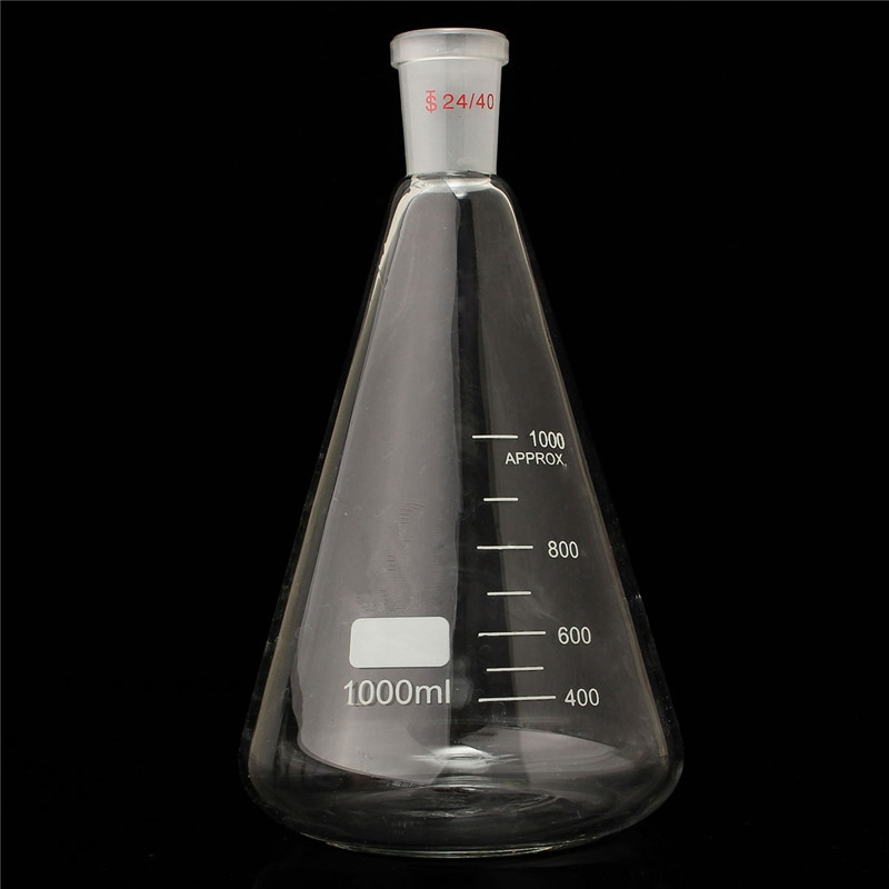 Kicute Excelletn Quality 24/40 1000ml/1L Glass Erlenmeyer Flask Conical Bottle Lab Chemistry Glassware Supplies