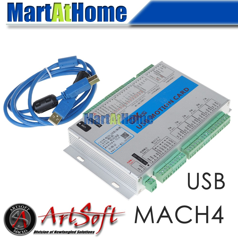 USB 2MHz Mach4 CNC 6 Axis Motion Control Card Breakout Board MK6-M4 for Machine Centre, CNC Engraving Machine #SM782 @SD 4 axis usb mach3 motion control card four axis breakout interface board for cnc machine