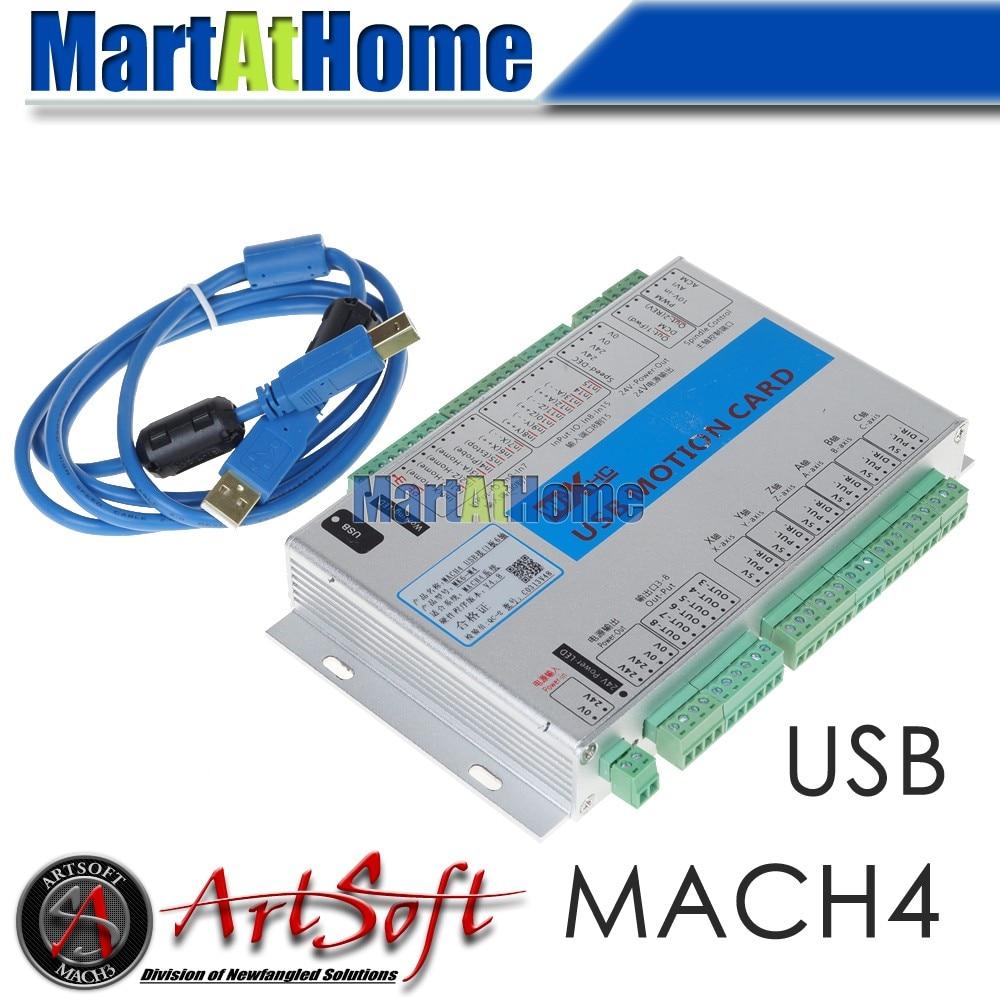XHC USB 2MHz Mach4 CNC 6 Axis Motion Control Card Breakout Board MK6-M4 for Machine Centre, CNC Engraving Machine #SM782 @SD mach3 usb motion controller card breakout board for cnc engraving 4 axis 100khz