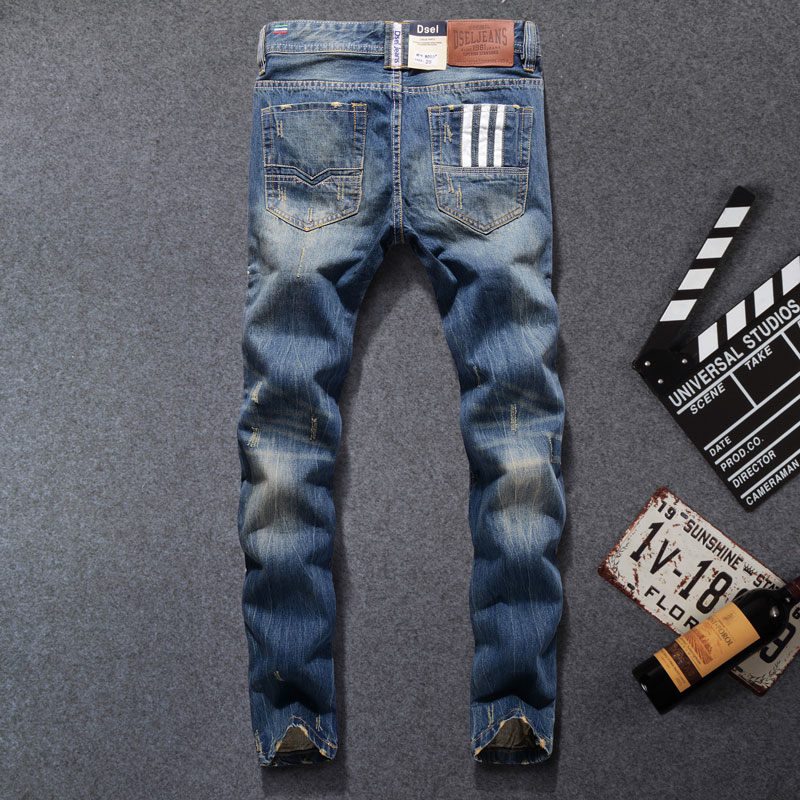 New Arrival Fashion Brand Men Jeans Blue Color Washed Printed Jeans For Men Casual Pants Italian Designer Jeans Men 9003 B in Jeans from Men 39 s Clothing