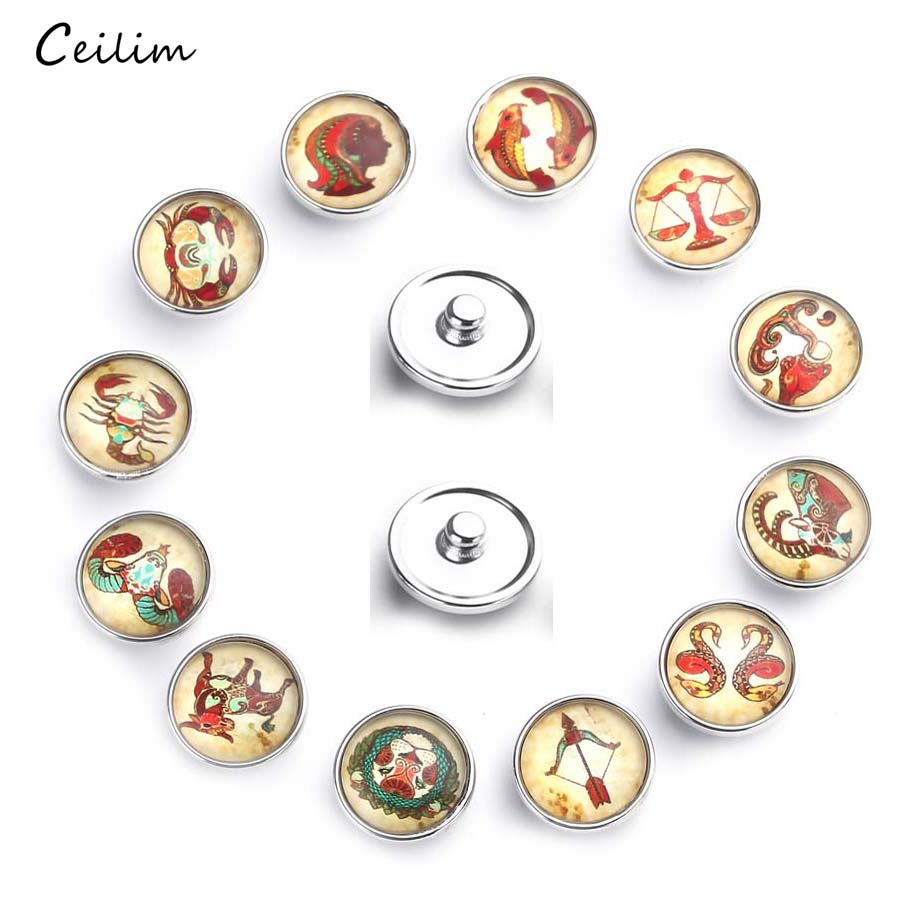 12pcs/lot New 12 Constellation Zodiac Glass Snap Buttons fit 18mm Snap Bracelet Snap Charms for Diy Jewelry Making image