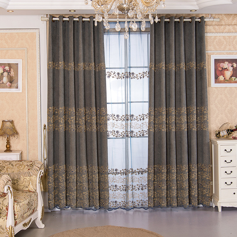European Style Embroidery Shade Curtain Wholesale To Set Up The Finished Goods Deluxe Shernier Living Room Bedroom Curtain