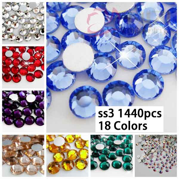 Crystal Rhinestones Glass stone For Nail Art Decoration 1440pcs/lot ss3 1.3-1.5mm Many Colors Loose Rhinestone For Bling Diy free shipping natural stone powder nail decoration nail art packed in a glass bottle 10ml pot it is made of natural stone