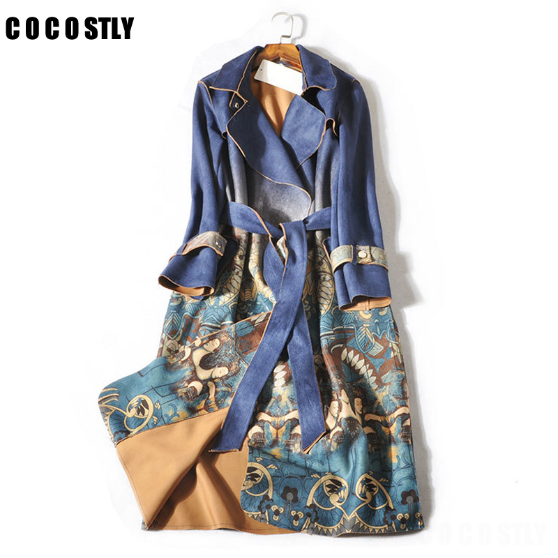Winter Suede   Trench   Coat For Women Abrigo Mujer Long Elegant Outwear Female Overcoat Slim Print Floral Suede Cardigan   Trench