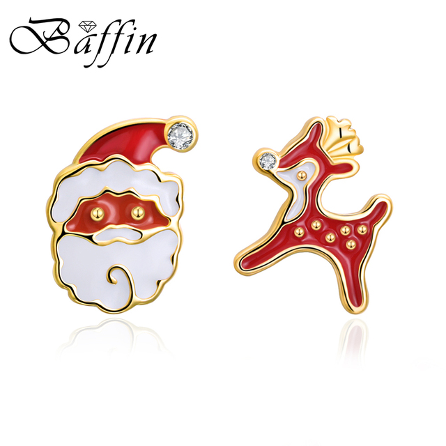 BAFFIN 2017 Christmas Jewelry Gold Color Reindeer Snowman Stud Earrings Red Oil Drop Piercing For Kids Party Accessories