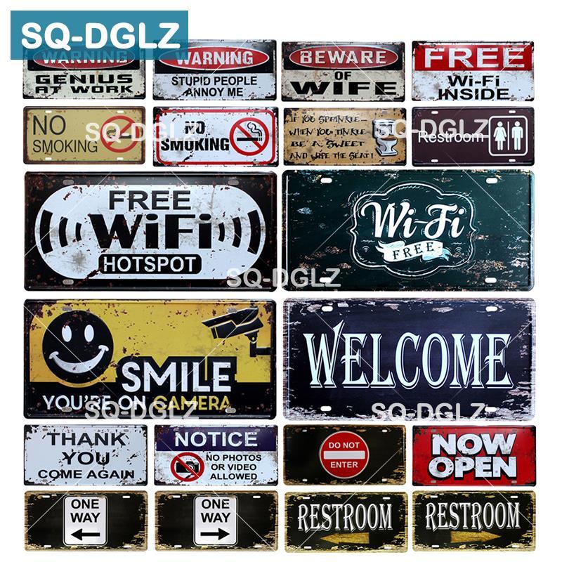 [SQ-DGLZ] bienvenue/WIFI plaque d'immatriculation magasin mur décor toilettes étain signe Vintage Guide routier métal signe peinture Plaques affiche