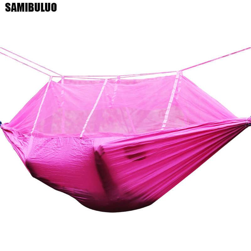 SAMIBULUO гамак с сеткой от насекомых Портативный Регулируемый ремень для путешествий выживания Охота Спящая кровать кемпинг Хамаса