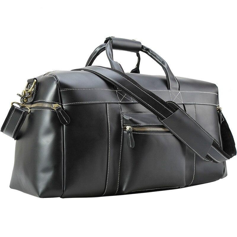 Sacs de voyage pour homme en cuir de vache 2017 hommes noir en cuir véritable vintage décontracté affaires voyage sacs à main sacs à bandoulière