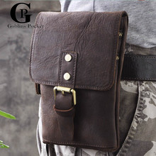 [Goblins Pocket] Unisex Crazy Horse Leather Small Messenger Bags Men/Women Shoulder Bag Cowhide Travel Waist Pack GP/8065