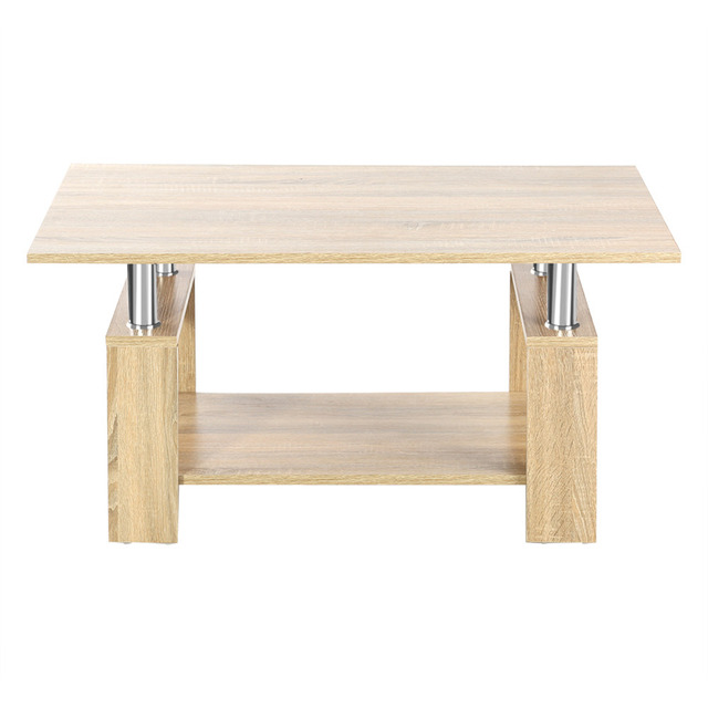 modern simple living room coffee table natural wood color double