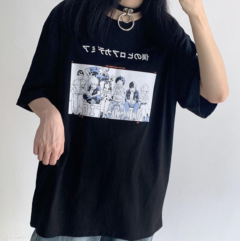 Printed MHA Tee Shirt Short Sleeve Tops for Women Girls Black Elibeauty lunanana My Hero Academia T-Shirt