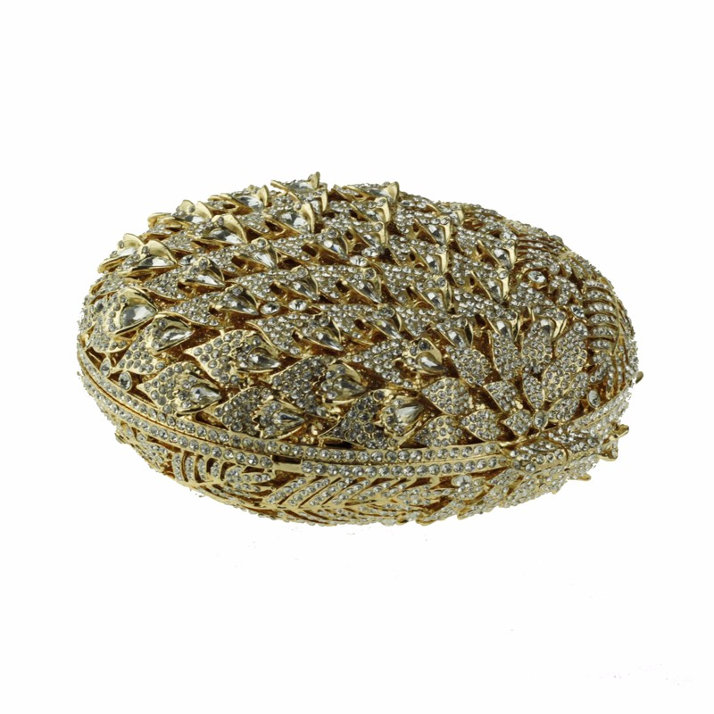 round crystal clutch bag golden4