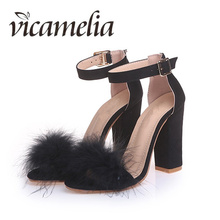 Vicamelia 2018 Women Sandals Summer High Quality Chunky Heels Fashion Feather Nightclub Sexy 090