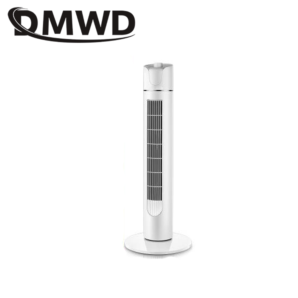 DMWD Electric Air Cooling Fan Tower Type Floor Stand Cooler Mute Vertical Bladeless Remote Timer Conditioning ventilator EU Plug