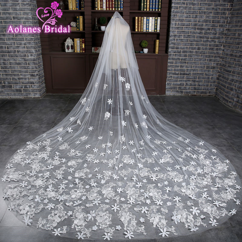 2017 Veu De Noiva Lace Appliques One Layer 3 M Long Wedding Veil Real Picture Cathedral Bridal Veils with Comb Velos De Novia