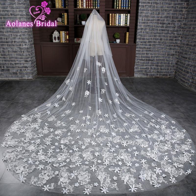 2017 Veu De Noiva Lace Appliques One Layer 3 M Long Wedding Veil Real Picture Cathedral Bridal Veils with Comb Velos De Novia