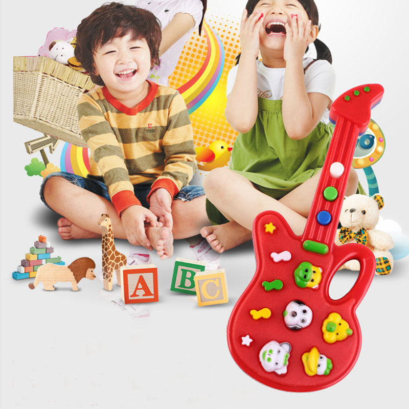 Creative Kids Musical Guitar Toy Cartoon Musical Instrument Simple Gift For Kids Music Teaching Tools(Not Include Batteries)