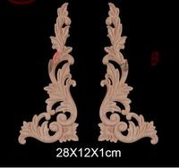 28x12x1cm Wood Carving Wood Trim Angle Flowers Applique Decal European Style Solid Wood Furniture Cabinets Decorative