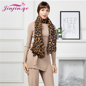 Jinjin.QC 2019 New Scarf Women Cotton Material Leopard Animal Print detail Casual Print 180*90cm Fashionable Lightweight Scarves casual poppy print voile scarf