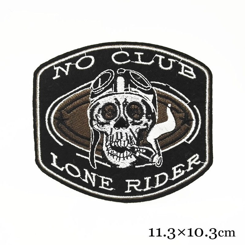 1pcs Engine Skeleton Motorcycle Biker Patches For Clothing Embroidered Iron On no club lone rider