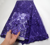 Latest Purple High Quality African Tulle Lace Fabric 2019 French Cord Lace Fabric Nigeria Lace Fabric For Women Wedding Dress