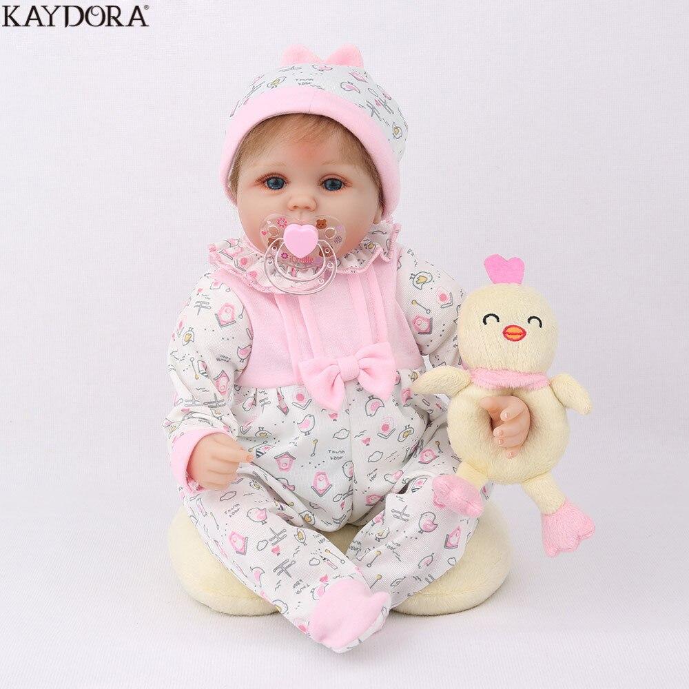KAYDORA Reborn Baby Doll 45CM Christmas Gift For Girls 17 Inch Baby Alive Soft Chicken Toys