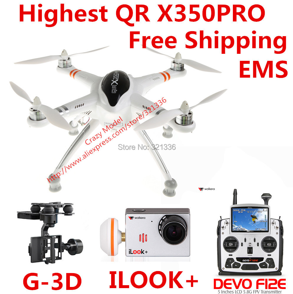 Plus haute passerelle QR X350 Pro parfait RTF RC FPV quadrirotor + DEVO F12E transmetteur + iLook + caméra + G-3D sans balai