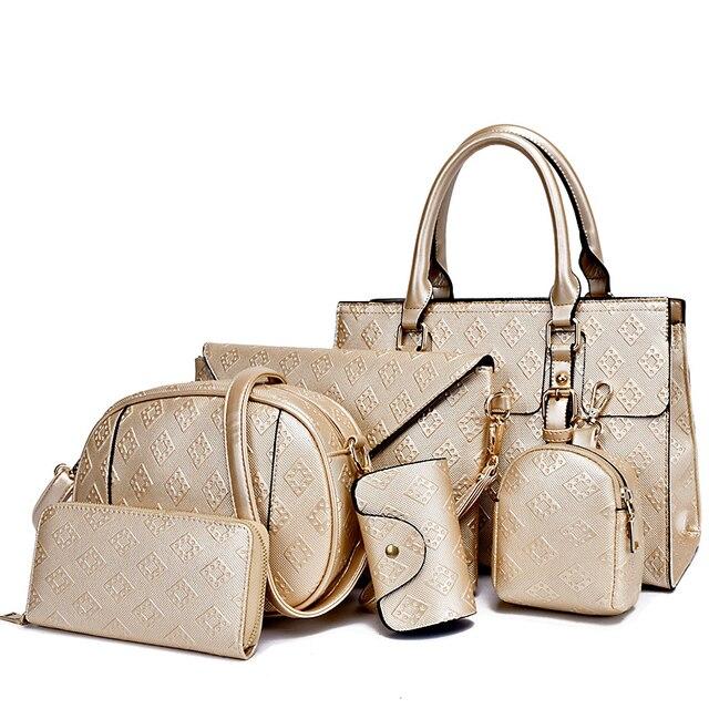 7ad18a60d9 2017 New 6pcs set Women Bag Bolsa Feminina Luxury Handbags Brand Designers  Handbag Ladies Shoulder Messenger Bags Crossbody Sac