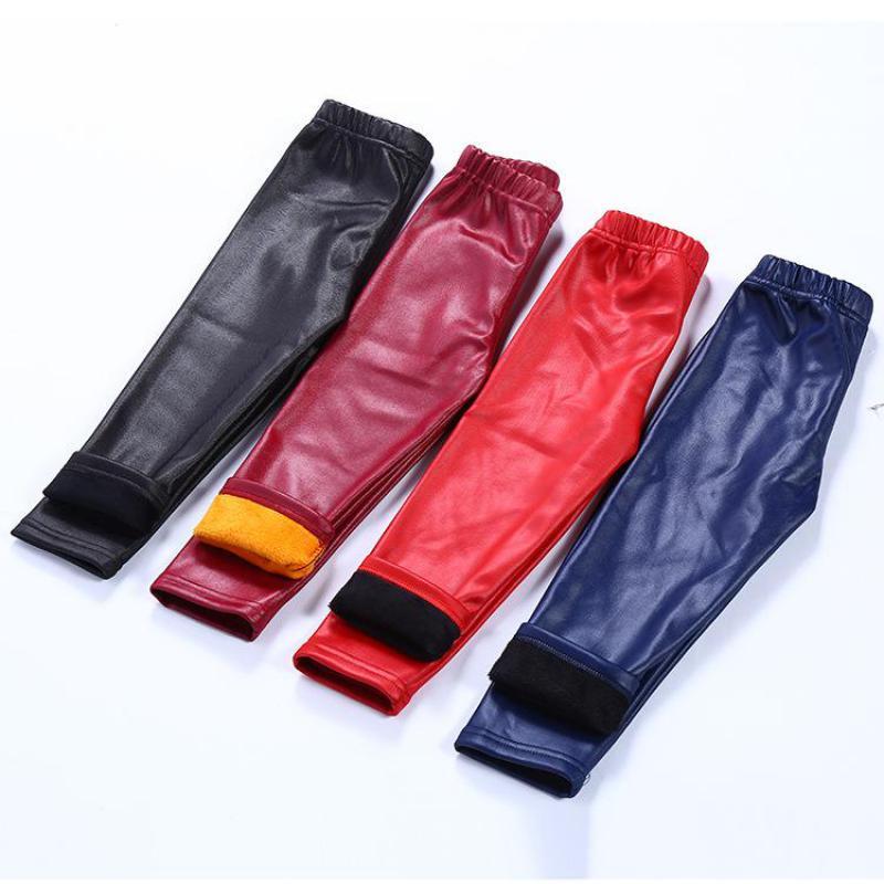 Girls Winter Fake PU Thick Fleece Leggings Winter Pants Warm Pants Leggings Winter For Kids 1-14 Years