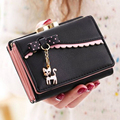 2017 Fashion Women Bow Short Wallet Cat Pendant Splice Cute Zipper PU Leather Coin Purse Card Holder Free Shipping P362