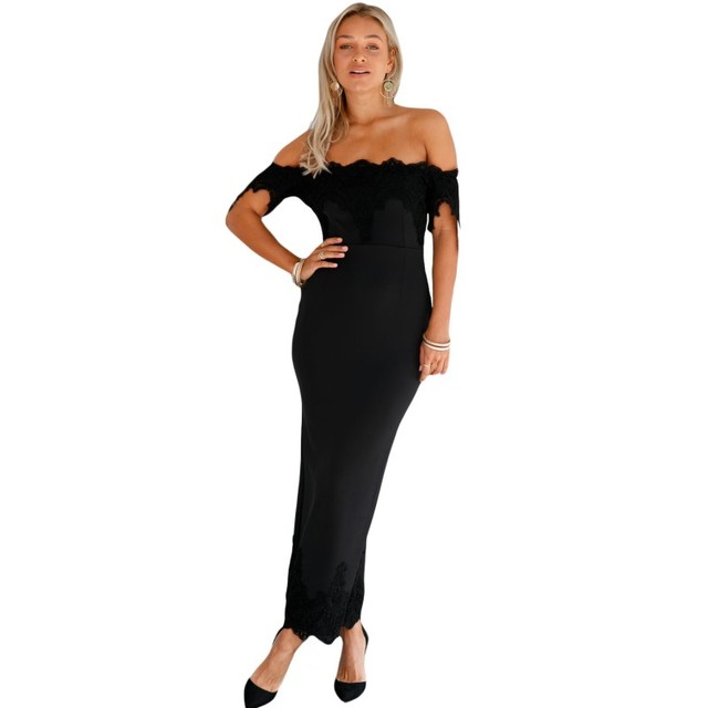 ae7218071fa0 Black lace applique off shoulder maxi dress summer slim fit bodycon slit  pencil club long sexy dresses 2017 new arrival M61480