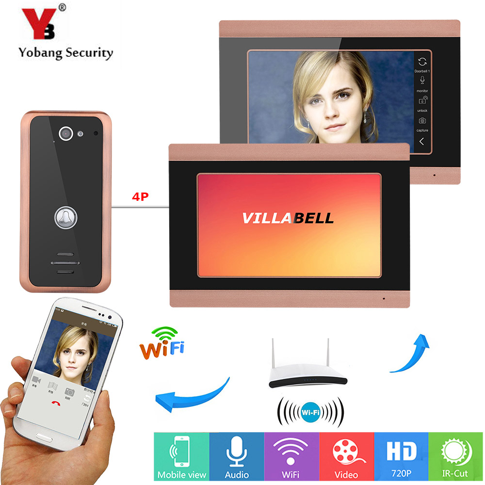 YobangSecurity APP Remote Control 2X 7 Inch Monitor Wifi Wireless Video Door Phone Doorbell Camera Video Door Intercom System yobangsecurity 7 inch monitor wifi wireless video door phone doorbell video door entry intercom camera system android ios app