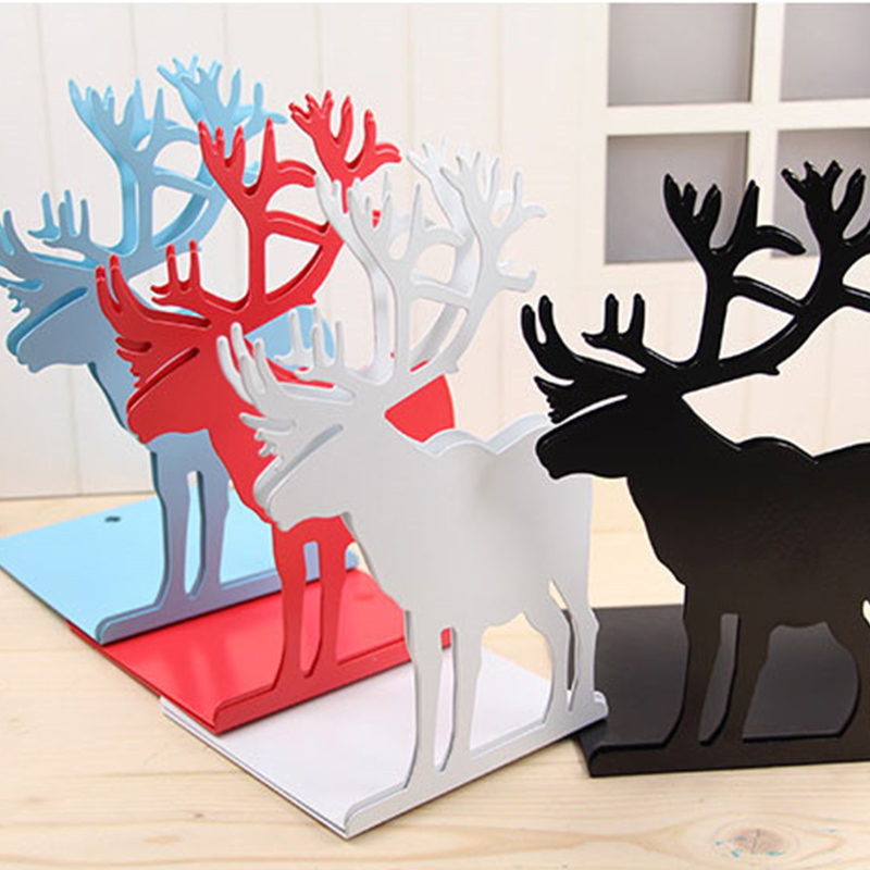 цена на Reindeer Bookends Book Stand Creative Paint Iron Student School Stationery Christmas Gift