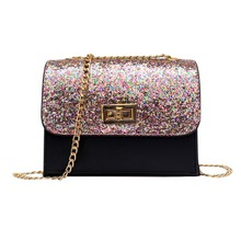 2018 Bag Women Sequin Shoulder Bag Shiny Glitter Chain Bag Pu Leather Flap  Party Crossbody Bag 2d0effcbc57a