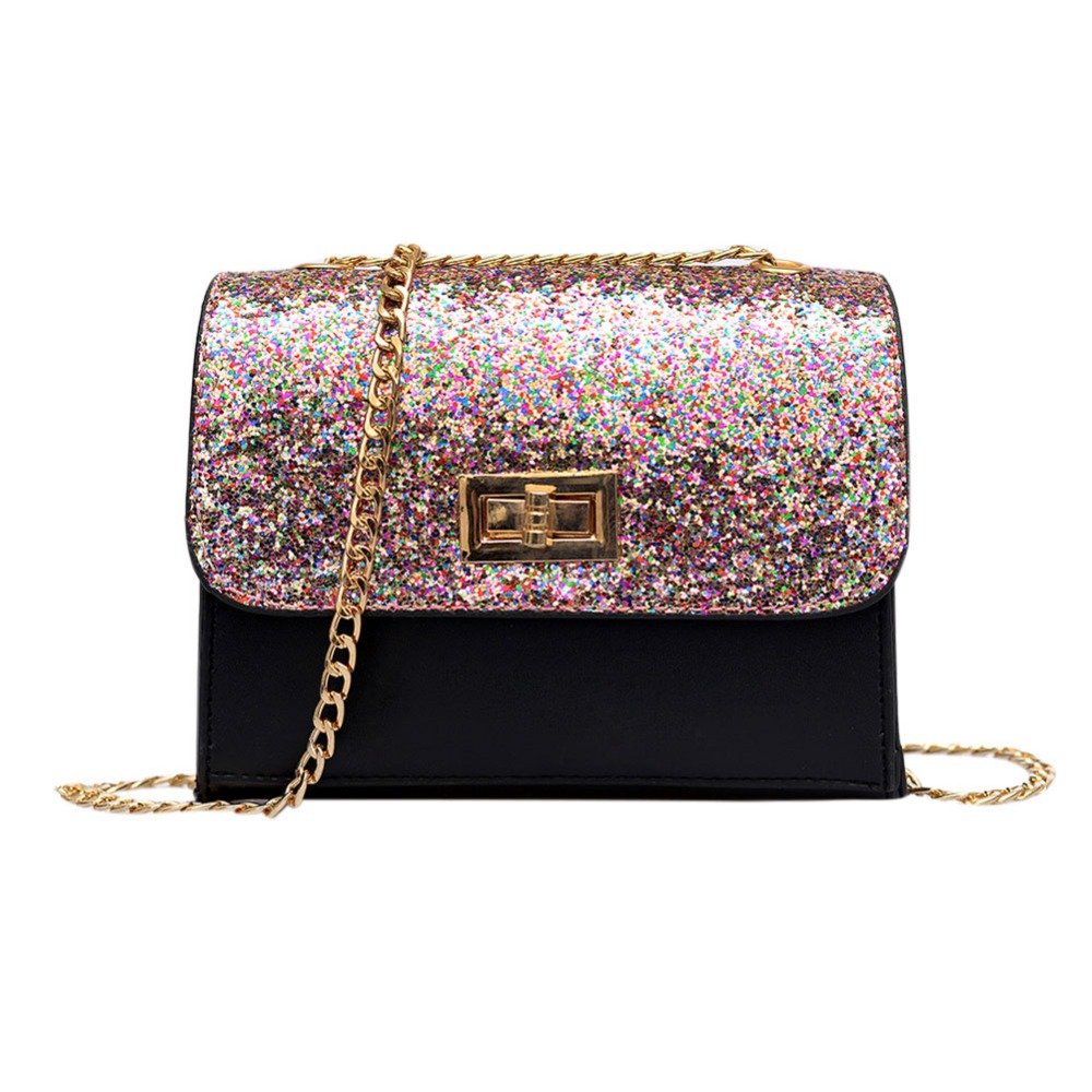 Women Sequin Shoulder Bag Shiny Glitter Chain Bag Pu Leather Flap Party Crossbody Bag Fashion Handbag Women Pink/Black 2017 women bag cowhide genuine leather fashion folding handbag chain shoulder bag crossbody bag handbag party clutch long wallet