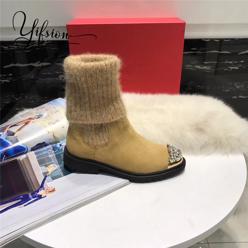 Slip Auf Runde Kristall Frau Grün Schuhe Echtes As Pic Neue Stiefel Metall Leder Frauen Herbst Schwarz Zehe Yifsion Pic Stiefeletten as Winter xFPq704ww