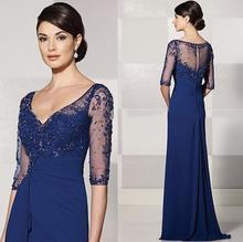 Royal Blue 2017 Mutter Der Braut Kleider A-line V-ausschnitt Halbarm Spitze Lange Abendkleider Mutter Kleider Für Hochzeit