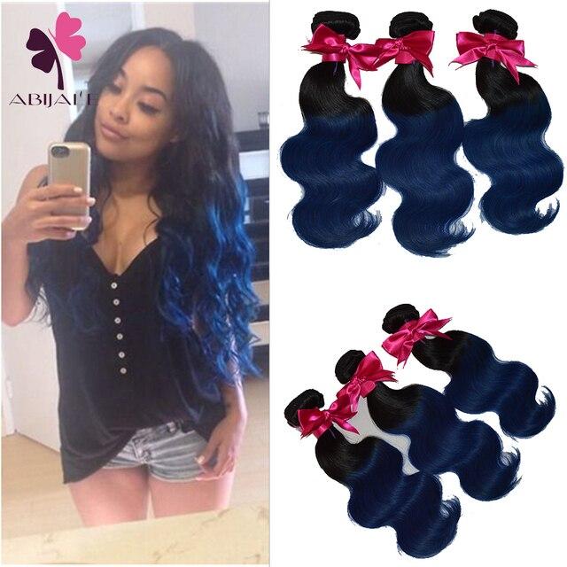 Peacock Color Virgin Hair Body Wave 3pcs Lot Blue Ombre Weave 10a