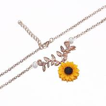 цена на European HOT Creative Sunflower Necklace Bijoux Gifts Fashion Alloy Leaves Pendant Faux Pearl Women Collar Chain Necklace