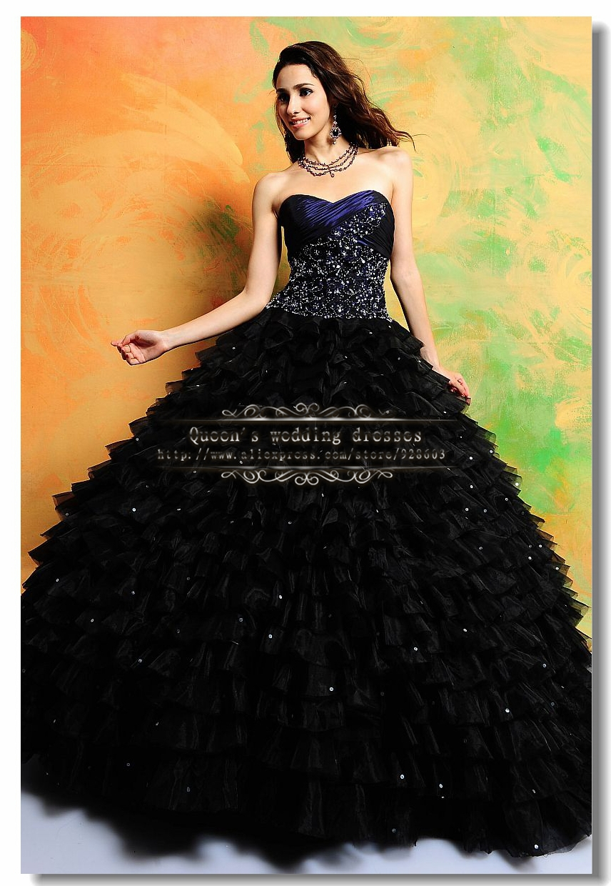 Black Tiered Embroidery Ball Gown Quinceanera Dresses Royal Blue ...