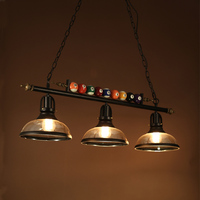 American Billiards Pendant Lamp Creative Personality Retro Industrial Glass 2 3 Heads Loft Restaurant Hanging Light