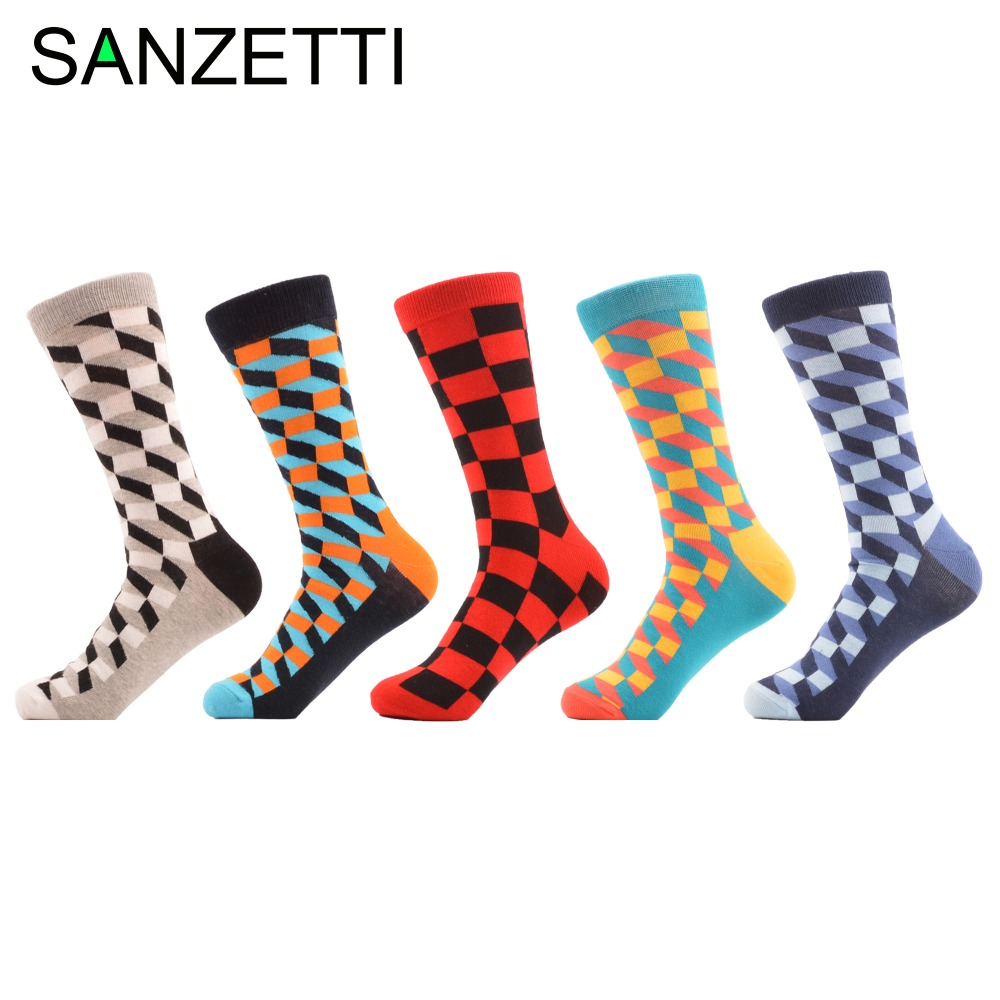 SANZETTI 5 pairs/lot Mens Colorful Combed Cotton Socks New Color Blue Green Filled Optic Casual Dress Socks Mid Calf Crew Socks